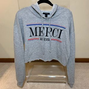 Forever 21 Heather Gray Raw Hem Cropped Hoodie